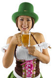 St Patricks Day Bartender. Young Asian female bartender dressed in costume for St Patrick's Day Stock Image