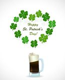 St. Patricks Day beer with heart shamrock Stock Images