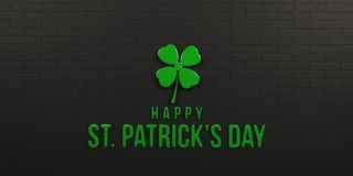St Patricks Day Black Brick Wall. 3D Render Illustration. St Patricks Day Billboard with Clover and Text Royalty Free Stock Photos