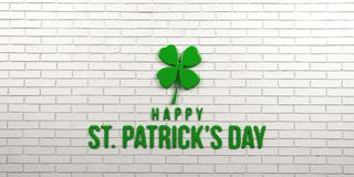St Patricks Day White Brick Wall. 3D Render Illustration. St Patricks Day Billboard with Clover and Text Stock Images