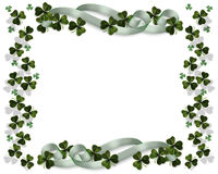 St Patricks Day Border. 3D Illustration for St Patrick's Day Card, Irish wedding invitation, background, border or frame with shamrocks, ribbons and copy space Stock Images