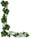 St Patricks Day Border. 3D Illustration for St Pattys Day Card, background, border or invitation with ribbons, hats samrocks and copy space Royalty Free Stock Photos
