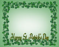 St. Patricks Day Border Shamrocks stock photo