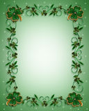 St Patricks Day Border Shamrocks. 3D Illustration for St Patricks Day Card, background, border or ornamental frame with enameled shamrocks and copy space Stock Image