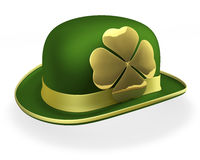 St Patricks Day Bowler Hat. Green bowler hat with shiny, golden shamrock on side, 3d rendering on white background Stock Photo