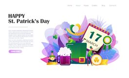 St. Patricks Day brochure. St. Patrick`s Day concept with people in leprechaun costumes, rainbow, hat, beer mug, gold coins. Website landing page design template vector illustration