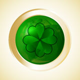 St Patricks Day button. Four leaf clover or shamrock. Vector illustration Royalty Free Stock Image