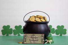 St. patricks day caldron with gold Royalty Free Stock Photo