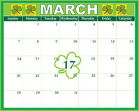 St. Patricks  Day Calendar. A March calendar showing the St. Patrick's Day marked prominently Royalty Free Stock Image
