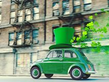 St. patricks day car driving with flying shamrocks. 3d rendering. 3d rendering. st. patricks day car driving with flying shamrocks Stock Photo
