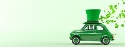 St. patricks day car driving with flying shamrocks. 3d rendering Stock Images