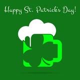 St Patricks Day card, green beer with clover, text Royalty Free Stock Images