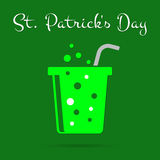 St Patricks Day card, green carbonated drink, text Stock Photo