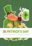 St. Patricks Day Card With Leprechaun Drinking Beer On Green Wooden Background Stock Photography
