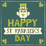 St Patricks Day card with leprechaun owl Stock Illustration