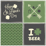 St. Patricks Day Cards Collection Stock Illustration