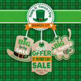 St Patricks Day 3 Carton Price Stickers Tartan. Green irish tartan background for St. Patrick's Day sale with carton price stickers Royalty Free Stock Photography