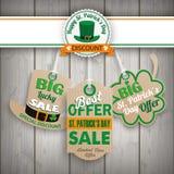 St Patricks Day 3 Carton Price Stickers Wood Stock Photo