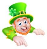 St Patricks Day Cartoon Leprechaun Pointing Stock Photography