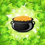 St. Patricks Day Cauldron with Gold Coins. In Green leaves and Shamrocks Royalty Free Illustration