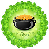 St. Patricks Day Cauldron with Gold Coins. And Shamrock Around Royalty Free Illustration