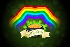 St. Patricks Day Cauldron with Gold Coins. Rainbow and Shamrock Vector Illustration