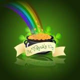 St. Patricks Day Cauldron with Gold Coins. Rainbow and Shamrock Royalty Free Illustration
