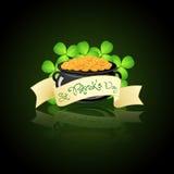 St. Patricks Day Cauldron with Gold Coins. And Shamrocks Stock Illustration
