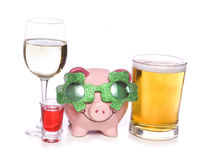 St patricks day celebration with alcohol piggy bank Stock Images