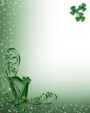 St Patricks Day Celtic Harp Border. St Patrick's Day Celtic Harp corner design illustration For Card, Irish wedding invitation, stationery or background Royalty Free Stock Photo