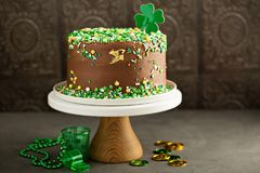St Patricks day chocolate cake. With green sprinkles Stock Image