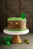 St Patricks day chocolate cake. With green sprinkles Royalty Free Stock Photography
