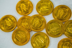 St. Patricks Day chocolate gold coins Royalty Free Stock Images
