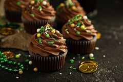 St Patricks day chocolate mint cupcakes. With green sprinkles Stock Photo