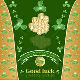St. Patricks Day with clover and gold. Culture Leprekon Coin Liszt Flower National Celebration Clover Symbol Label stock illustration