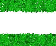 St Patricks Day clover. Green border of shamrocks isolated on a white background. Space for text. G. Radient Vector illustration Royalty Free Stock Images