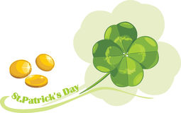 St. Patricks Day clover leaf and coins stock photography