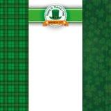 St Patricks Day Cloverleafs Tartan Oblong Banner Emblem Stock Image