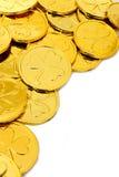St Patricks Day coin border. St Patricks Day shamrock gold coin corner border over white Stock Images