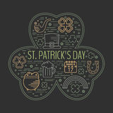 St. Patricks day colorful line icons set. Royalty Free Stock Photos