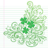St Patricks Day Colvers Sketchy Doodles Vector. Four Leaf Clover St Patricks Day Sketchy Doodle Shamrocks Back to School Style Sketchy Notebook Doodles Vector Royalty Free Stock Photo