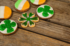 St. Patricks Day cookies decorated with irish flag and shamrock toppings Royalty Free Stock Image