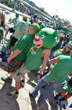 St. Patricks Day Crazyness. Crowd of people waiting on the St. Patty's day Parade in Dallas, Tx. One person having fun with a bear hat on Stock Photos