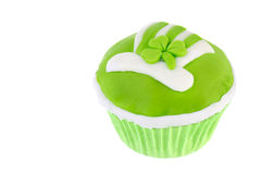 St. patricks day cupcake. With hat and green clover Stock Photography