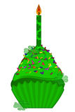 St Patricks Day Cupcake with Candle and Shamrock. St Patricks Day Cupcake with Colorful Chocolate Chip Sprinkles and Candle Isolated on White Background Stock Photography