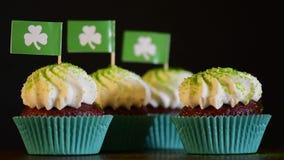St Patricks Day cupcakes stock footage
