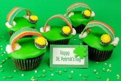 St Patricks Day cupcakes with greeting card Royalty Free Stock Image