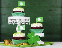 St Patricks Day cupcakes on stands Stock Photos