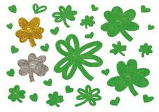St Patricks day design of clover leaves and heart. Isolated on white background vector illustration Stock Photos