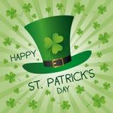 St Patricks day design of green hat and clover leaves vector illustration